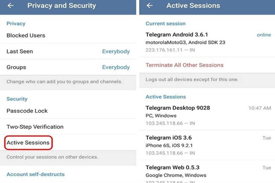 تلگرام Active sessions