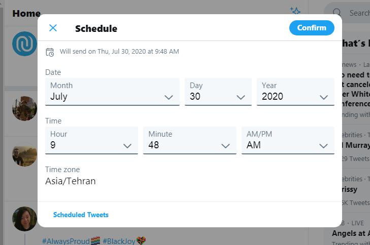 زمانبندی ارسال پست در توییتر